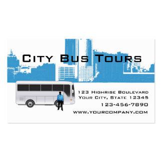 Skyline do ônibus e da cidade modelos cartoes de visitas