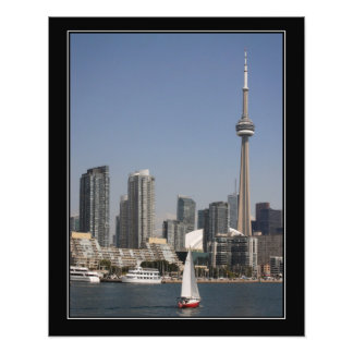 Skyline do porto de Toronto com o barco vermelho Foto Arte