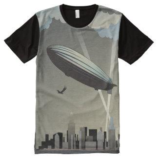 Skyline do zepelim por todo o lado no t-shirt do camisetas com impressão frontal completa