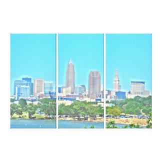 Skyline impressão das canvas de Cleveland do lago