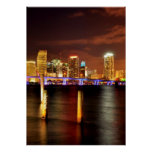 Skyline na noite, Florida de Miami Poster