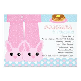 Sleepover dos deslizadores do coelho dos pijamas & convites personalizados