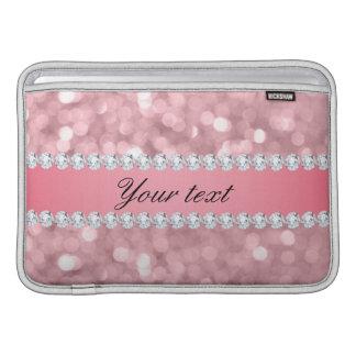 Sleeve De MacBook Brilho cor-de-rosa Bokeh e diamantes