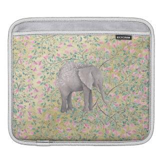 Sleeve Para iPad Brilho do ouro das flores do elefante da aguarela