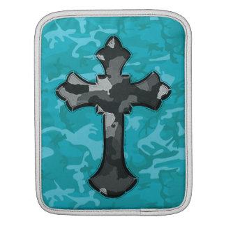 Sleeve Para iPad Camo azul com cruz