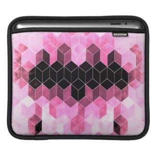 Sleeve Para iPad Design geométrico cor-de-rosa & preto intenso
