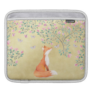Sleeve Para iPad Fox com borboletas e as flores cor-de-rosa