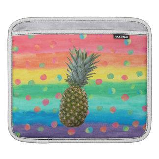Sleeve Para iPad Listras e pontos modernos da aguarela do abacaxi