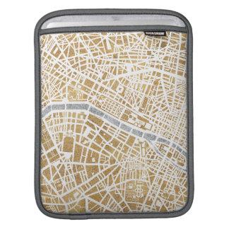 Sleeve Para iPad Mapa dourado da cidade de Paris