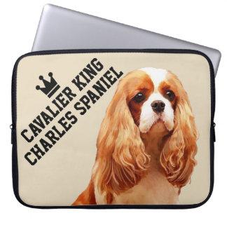 Sleeve Para Laptop A bolsa de laptop descuidado do Spaniel de rei