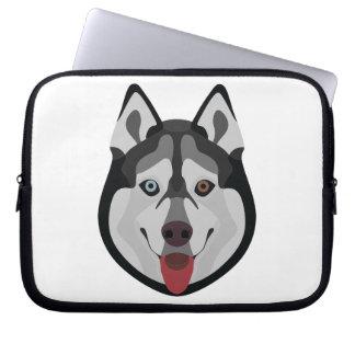 Sleeve Para Laptop A ilustração persegue o rouco Siberian da cara