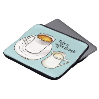 Sleeve Para Laptop Aguarela da ruptura de café e ilustração da tinta