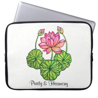 Sleeve Para Laptop Aguarela Lotus cor-de-rosa com botões & folhas