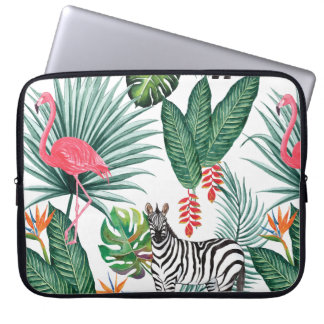 Sleeve Para Laptop Aguarela tropical da folha da zebra moderna do