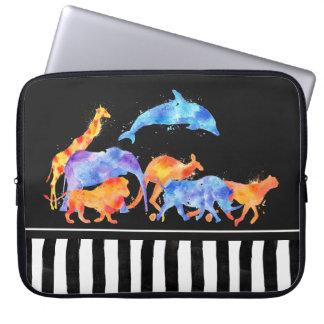 Sleeve Para Laptop Animais selvagens que funcionam junto a aguarela