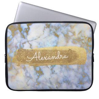 Sleeve Para Laptop Azul e de mármore com folha e brilho de ouro