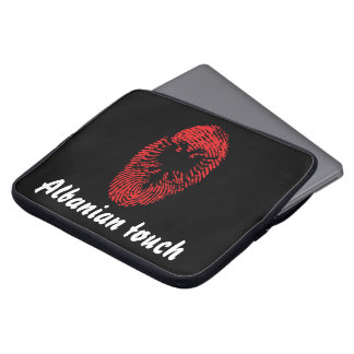 Sleeve Para Laptop Bandeira albanesa da impressão digital do toque