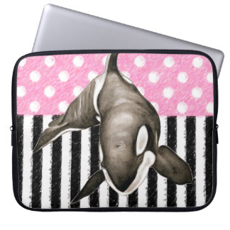 Sleeve Para Laptop Bolinhas do rosa da baleia da orca