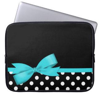 Sleeve Para Laptop Bolinhas preto e branco do arco azul da cerceta