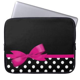 Sleeve Para Laptop Bolinhas preto e branco do arco cor-de-rosa