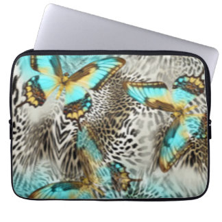 Sleeve Para Laptop Borboletas do impressão & da cerceta do leopardo