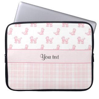 Sleeve Para Laptop Caniches & verificações cor-de-rosa do rosa