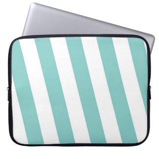 Sleeve Para Laptop Cerceta e listras brancas