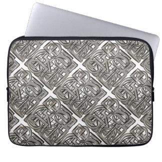 Sleeve Para Laptop Cinza-Mão áspera geométrico abstrato pintado
