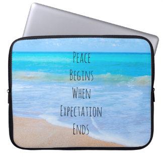Sleeve Para Laptop Citações inspiradas com cena tropical da praia