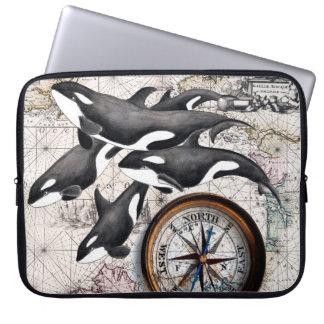 Sleeve Para Laptop Compasso náutico da orca