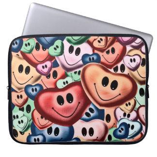 Sleeve Para Laptop Corações de sorriso engraçados B