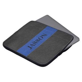 Sleeve Para Laptop Couro preto e azul masculino do falso
