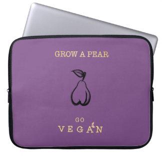 Sleeve Para Laptop Cresça uma pera - vai a caixa do laptop do Vegan