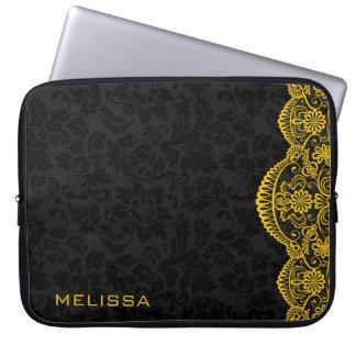 Sleeve Para Laptop Damascos amarelos do preto do laço do vintage