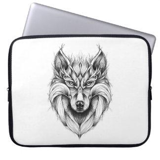Sleeve Para Laptop Desenho da fantasia de um lobo na bolsa de laptop