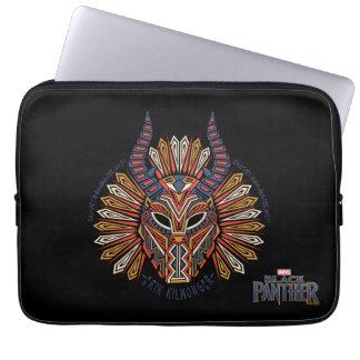 Sleeve Para Laptop Ícone tribal preto da máscara da pantera   Erik