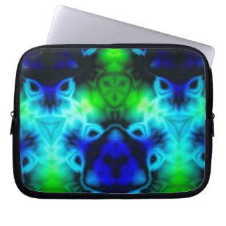 Sleeve Para Laptop Imagem do caleidoscópio do verde azul e do preto