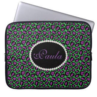 Sleeve Para Laptop Impressão roxo & verde chique do leopardo com