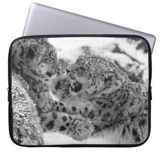 Sleeve Para Laptop Irmãos Jogo-De combate do leopardo de neve