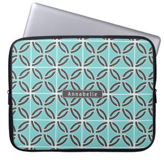 Sleeve Para Laptop Linhas torcidas na hortelã e nas cinzas com placa