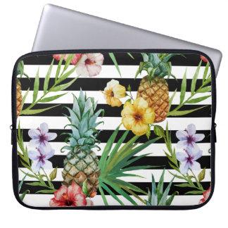 Sleeve Para Laptop Listras tropicais do preto da flor do abacaxi da