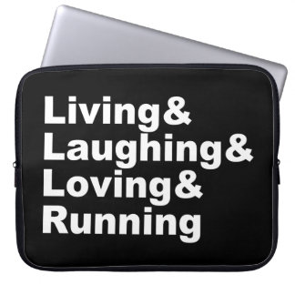 Sleeve Para Laptop Living&Laughing&Loving&RUNNING (branco)