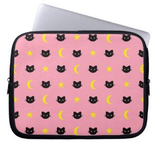 Sleeve Para Laptop Lua do gato do gatinho e bolsa de laptop das