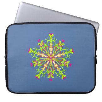 Sleeve Para Laptop Mandala verde do starflower no azul de acalmação