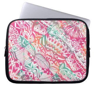 Sleeve Para Laptop mão feminino teste padrão floral tribal