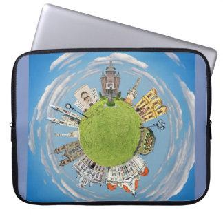 Sleeve Para Laptop marco pequeno minúsculo do planeta de romania da