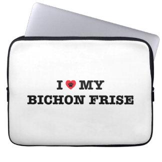 Sleeve Para Laptop Mim coração minha bolsa de laptop de Bichon Frise