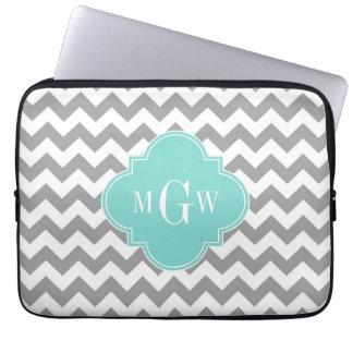 Sleeve Para Laptop Monograma branco cinzento de Quatrefoil 3 do Aqua