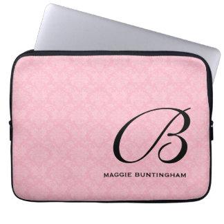 Sleeve Para Laptop Monograma preto no damasco cor-de-rosa