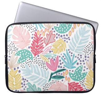 Sleeve Para Laptop O entalhe tropical da colagem dá forma à bolsa de
